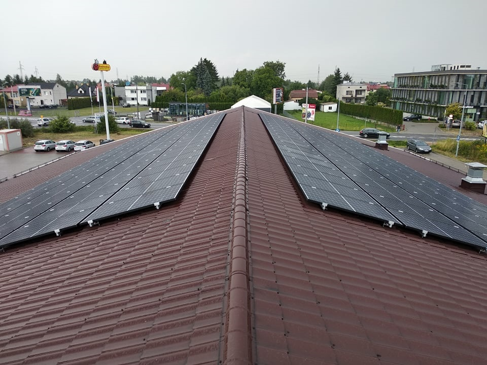 Installaton with a maximum power of 49 kWp mounted on the gable roof of a service building in Stara Iwiczna.